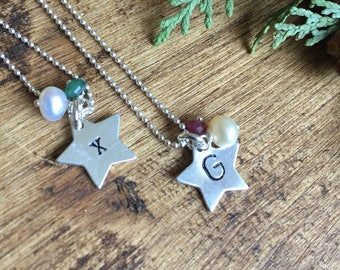 Sterling silver personslised star necklace with pearl and gemstone