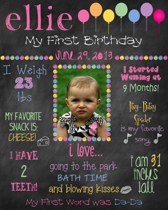 items similar to printable custom birthday sign photo board