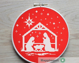 christmas cross stitch pattern, nativity scene, christmas decoration,  snowflakes, PDF, ** instant download**