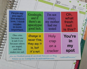 Sheldon Quotes Full Box Stickers for ECLP Vertical Weekly Layout, Planner Stickers