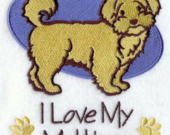 I Love My Maltipoo Embroidered Flour Sack Hand/Dish Towel