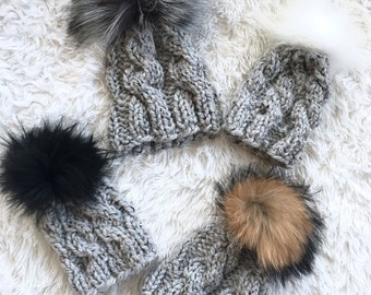 Chunky Knit Cable Hat with Fur Pom Newborn/Baby/Toddler/Child | THE TRECCIA