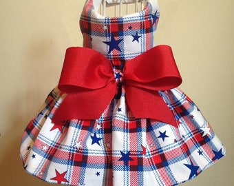 Patriotic Plaid Dog Dress