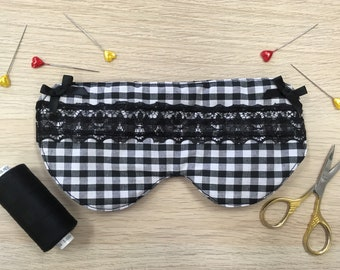 Cotton gingham eye mask - sleep mask - handmade gift - cute gift - friend gift- mother gift
