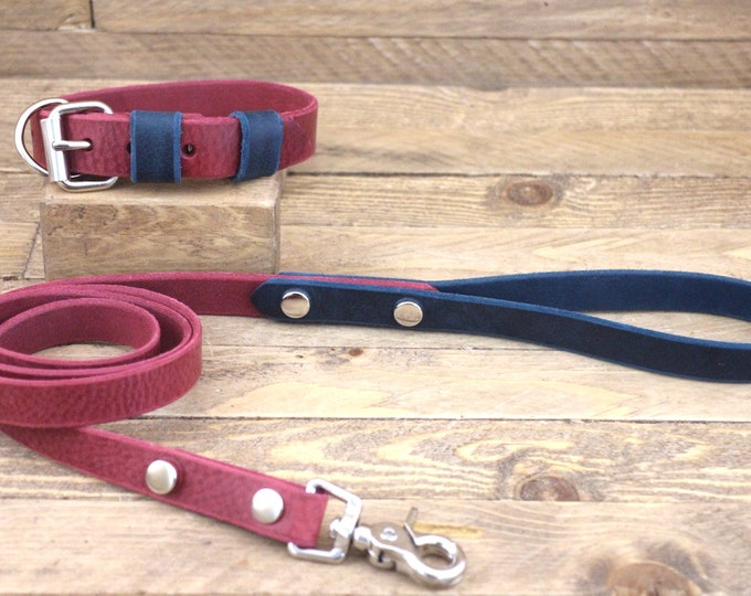 Leather collar, Collar and leash set, Dog lead, Silver hardware, Burgundy, Deep ocean, FREE ID TAG, Handmade leash, Large collar.