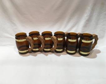 6 Siesta Ware Brown Barrel Mugs, Wood handles, Root beer mugs, Glass barrel mug, Brown glass mugs, Brown cow, Root beer float, Chocolate cow