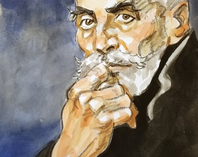 Pensive Silver Fox, watercolor on cotton paper 11x14 inches by KennEy Mencher