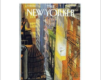 """Vintage The New Yorker Magazine Cover Poster Print Art, 1993 Matted to 16"""" x 20"""", Item 4018, Arabesque, Ballet, Dance"""