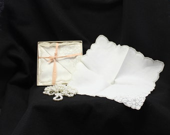 Napkins, hand hemstitched mosaic napkins, set of 12 boxed vintage napkins