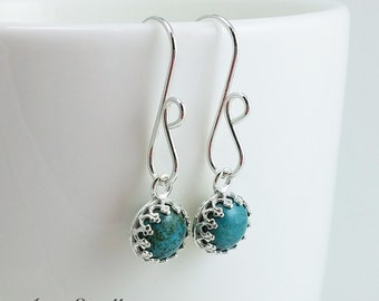 Turquoise Dangle Earrings - Turquoise Sterling Silver Earrings - Handmade Earrings - December Birthday -  Gift Under 50 - READY TO SHIP