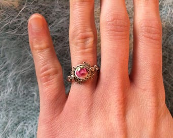Russian Sterling Ring with Hand Painted Floral Motifs