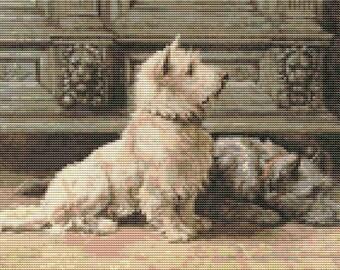 Dog Cross Stitch Kit, West Highland Terrier, Embroidery Kit, Art Cross Stitch, Counted Cross Stitch, Herbert Dicksee