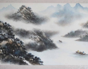 Original Chinese painting-Natural Scenery(Mountain River Boat and Fishermen)