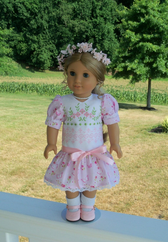 Like American Girl Doll Clothes / Victorian Embroidered  Dress / 18 Inch Doll Clothes by Farmcookies  fits American Girl