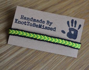 Handmade Woven Macrame Chevron Reggae Friendship Bracelet Green Black Yellow