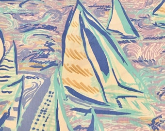 Light Lilac Verbena Aboat Time 2018 Summer cotton dobby 6 X 6,  9 X 18 inches or 18 X 18 inches  ~Authentic Lilly Pulitzer fabric~