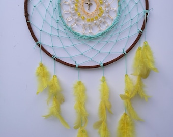 Mint Green and Yellow Dream Catcher Wall Hanging
