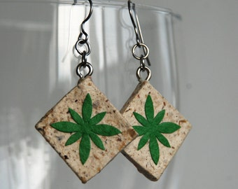 Green Brown Diamond Hanji Paper Earrings Dangle Flower Design Hypoallergenic hooks Lightweight Ear rings