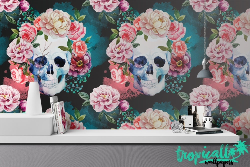 Skull And Flowers Wallpaper Removable Wallpapers Floral