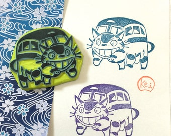 TOTORO NEKO BUS - Hand Carved Rubber Stamps/Japan Anime/Movie