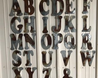 "6"" U - Distressed Galvanized Letter by JunkFX"