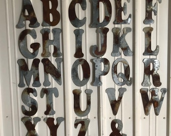 "6"" F - Distressed Galvanized Letter by JunkFX"
