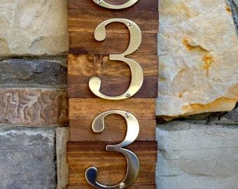Decorative House Number Plaque (4#'s). Wooden Plaque Hanger w/ Metal Numbers. Hanging Wooden House Number Plaque. Suits Modern/Rustic Style.