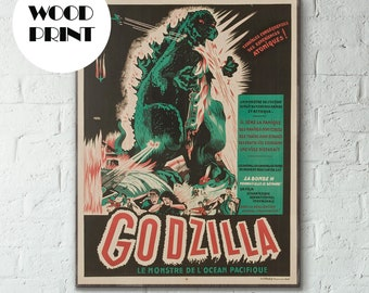 Godzilla, Godzilla poster, godzilla art, french poster | Godzilla, King of the Monsters! 1956 Vintage 50s French Movie Poster