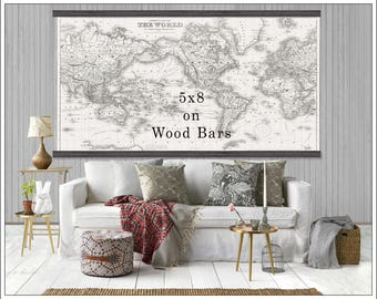 World map tapestry etsy large vintage world map world map in antique whites world map grand canvas wall gumiabroncs Gallery