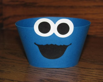 Cookie Monster Inspired Cupcake Wrappers - Set of 12 - Birthday Party