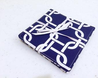 Fabric Coasters- Nautical Navy Set of 4