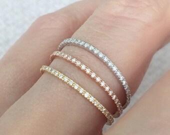Diamond Eternity Ring 18k 14k . Skinny Micro Pave Eternity Band. Full 3/4 Half . Wedding Band Thin Diamond Ring. Yellow White Rose Gold