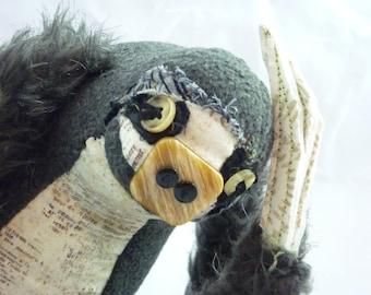 Osmund, stuffed sloth, one of a kind handmade art doll