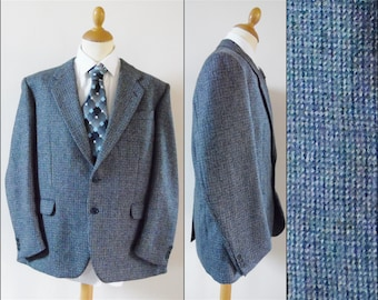 Vtg mans grey blue tweed sports jacket wool smart jacket size 58Reu medium/large