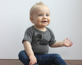 Baby Bodysuit / Loon Print / Printed by Hand / Asphalt Bodysuit / Black Print / 3 month / 6 month / 12 month / 18 month