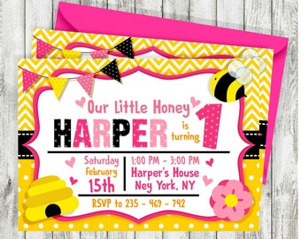 Busy bee first birthday invitation bee birthday invitation pink bumble bee birthday invitations bee invitations bumble bee invite little honey birthday filmwisefo Images