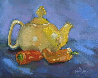 "Teapot Painting, Kitchen Art, 6x8"" Original  Oil Painting, ""Yellow Teapot and Peppers"""