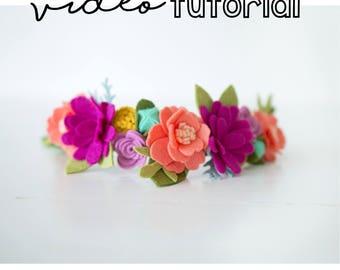 DIY Felt Flower Crown / Felt Flower Headband Pattern / Felt Flower Video Tutorial / Felt Flower Video Pattern / Felt Flower Headband