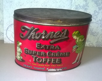 Thorne's Extra Creme Toffee tin with girl and little dog