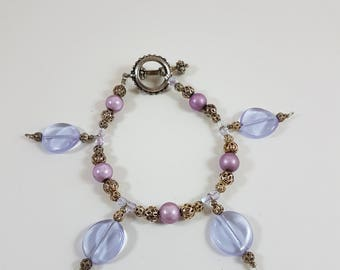 Purple and Silver Charm style Bracelet