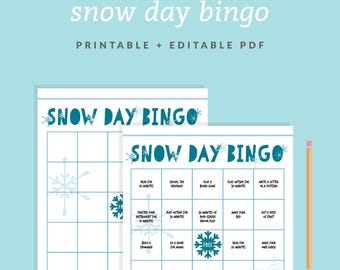 Snow Day Bingo Game - Customizable + Printable Bingo Card - Kids' Snow Day Activity - All Day Fun -Instant Download