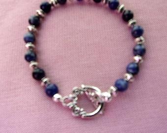 Beautiful Sodalite and pewter bracelet