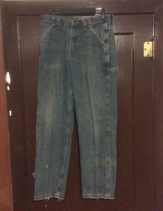 Vintage distressed Lee jeans, vintage carpenter Lee jeans, 32x32 mens size Lee naturally distressed denim, vintage clothing, vintage denim