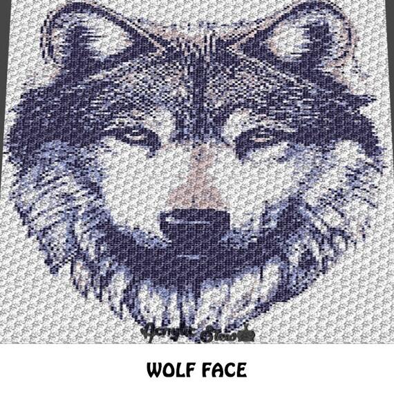 Graphgan Pattern - Corner to Corner - C2C Crochet - Wolf Face Animal ...