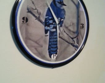 Bluebird Winter - 12 inch wall clock - Ready To Hang - Made from a 12 inch vinyl record. Shipped Priority Mail