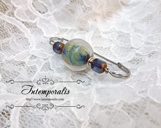 Purple and green lampwork glass bead brooch, shawl pin, OOAK, SAFI02
