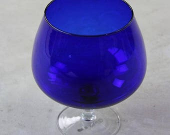 Blue Glass Brandy Balloon Vase