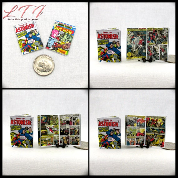 2 Miniature ANT-MAN COMIC Dollhouse Readable Comic Book 1:12 Scale 2 for 1 Marvel Avengers First Appearance Superhero