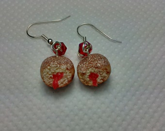 Jam Doughnut (Jelly Donut) Earrings, Miniature Food Jewellery