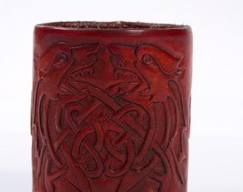 Leather Pencil / Dice Cup - Hand Carved Celtic Design
